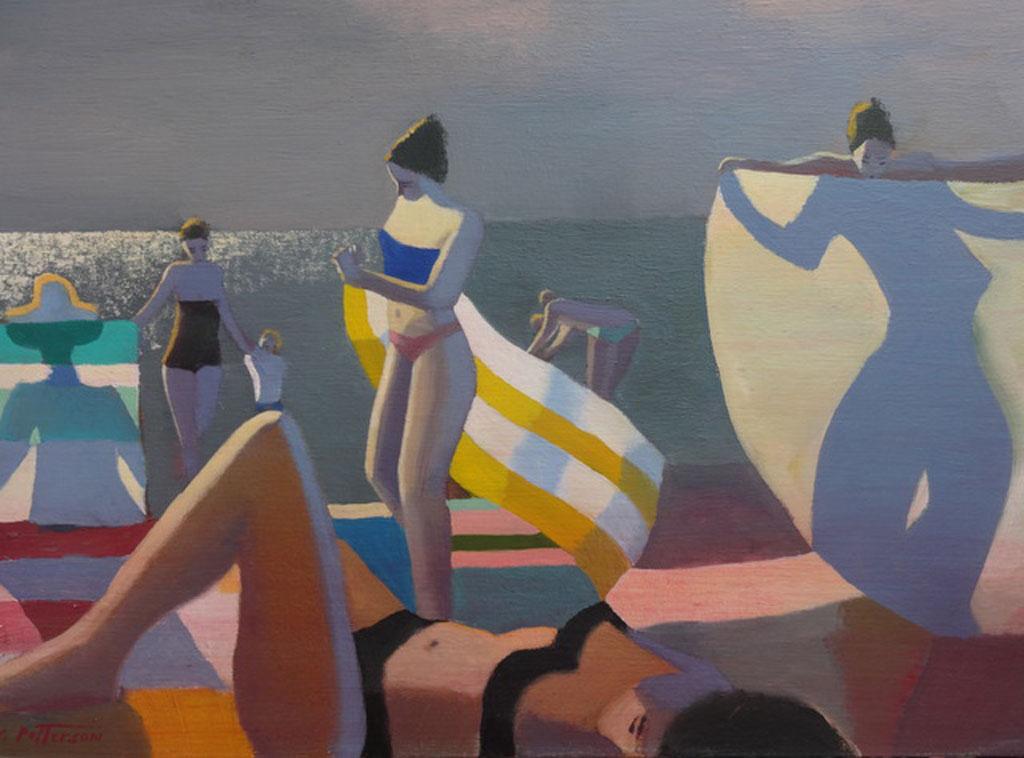 Black Bikini, Yellow & White Towel