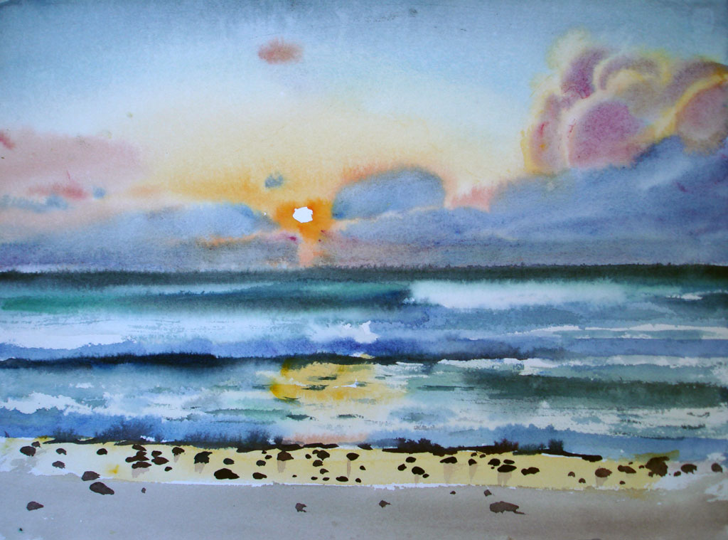 Sun Setting Over Bluegreen Water